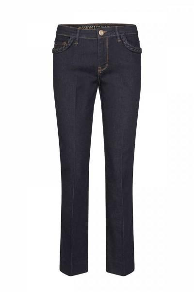Donkerblauwe dames jeans - Mos Mosh - Ashley braid hybrid spijkerbroek - 140330-447