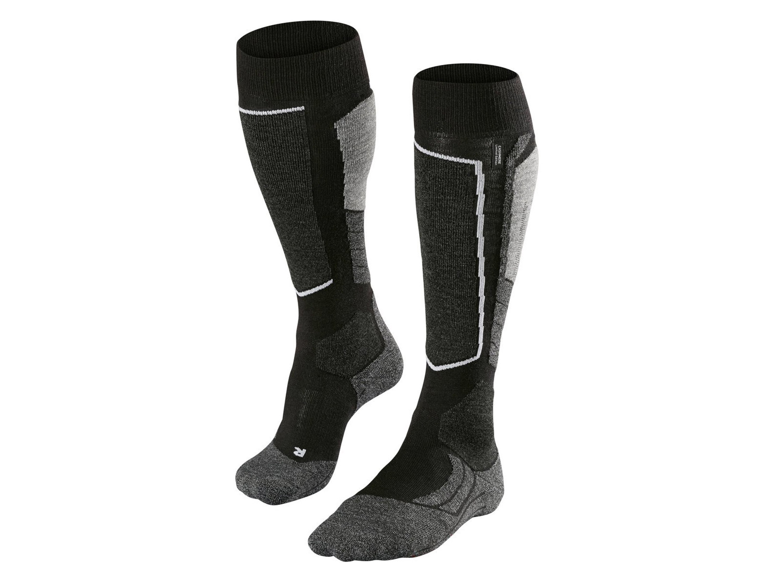 Zwart/Grijze dames ski sokken - Falke - 3010