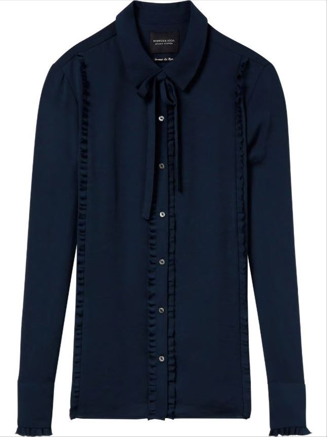 Blauwe dames blouse met ruchedetail Maison Scotch - 146322