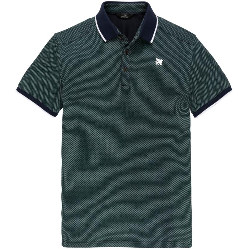 Donkerblauwe polo met groene print Vanguard - VPSS203882 5318