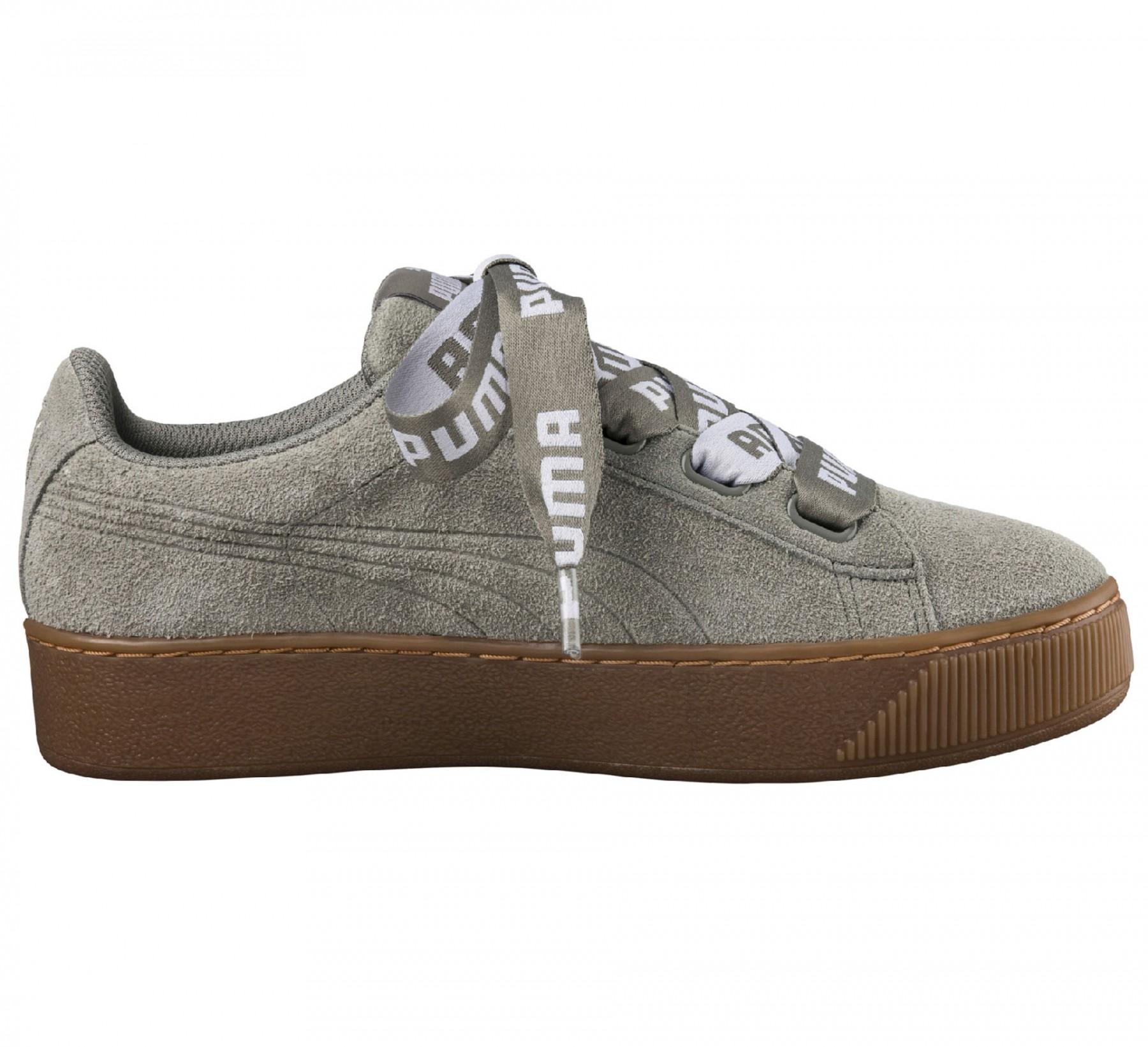 d7ed4e6b666 Groen grijze Dames sneaker Puma Vikky pltfm Ribbon Bold - 365314-03