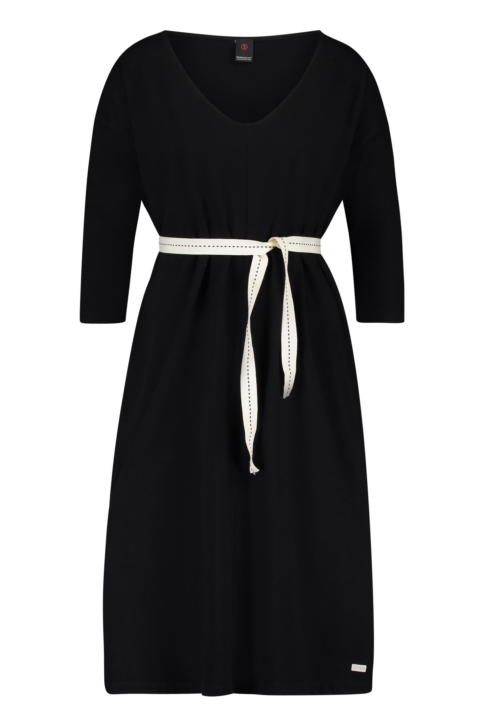 Zwart dames jurk met wit letter detail Penn & Ink - S18F170