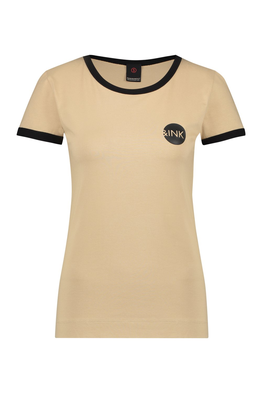 Bruin dames shirt met korte mouw Penn & Ink - S19F521
