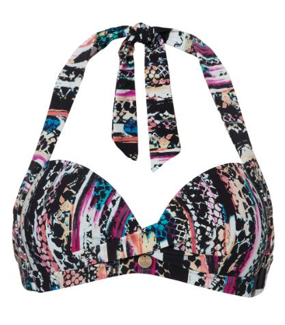 Zwart gekleurde dames bikini top cupB - Halter