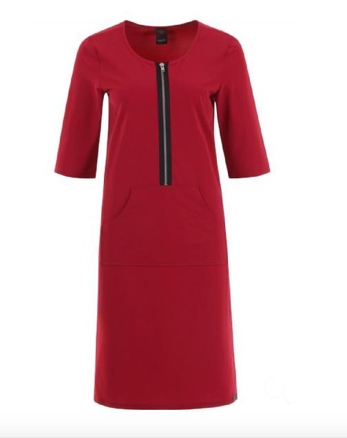 Rode dames jurk met rits voorkant Penn & Ink - s18n197pre