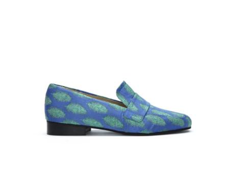 Blauw groen geprinte dames loafers Fabienne Chapot - Lola