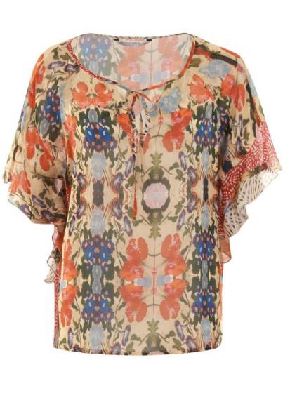 Oranje groen gekleurde dames blouse Summum - 2s2074-10584
