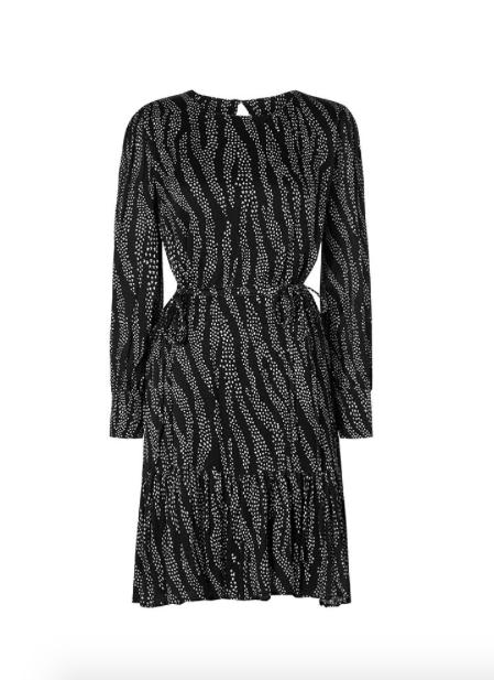 Zwart/wit geprinte dames jurk met lange mouwen - Bonnie Bo Dress