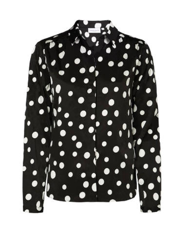 Zwart/wit gestipte dames blouse, Fabienne Chapot - Sunrise Lou Blouse - black/off-white