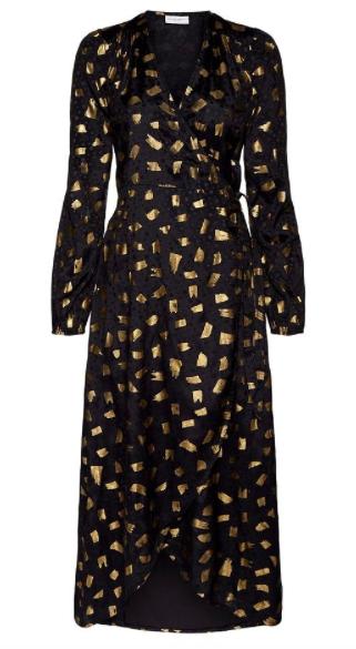 Zwart/ Gouden dames jurk - Fabienne chaoot - Natasja foil dress - black/gold flyig