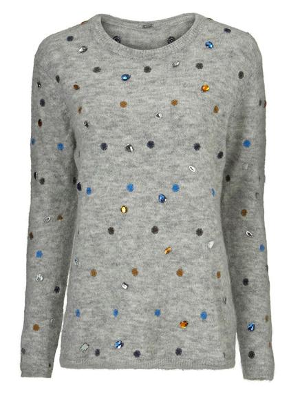 Grijze dames trui met stenen Gustav - 32406- 3615-0-9119