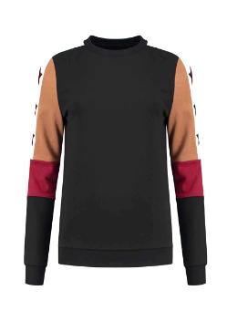 Zwarte trui dames trui met sterren NIKKIE - Colorblock sweater - N8-846 2001 9000