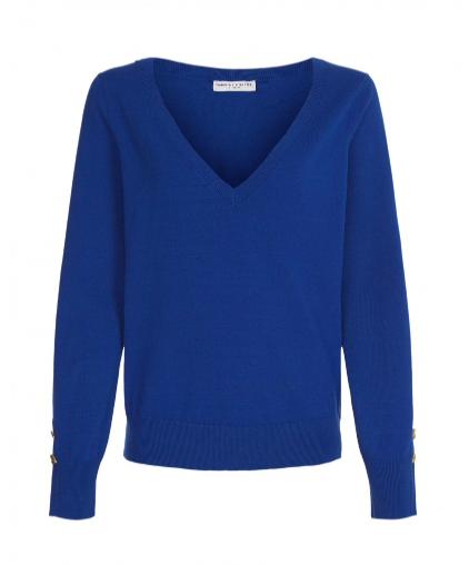 Blauwe dames v-neck pull - Fabienne Chapot - Molly v-neck pull - Fann blue