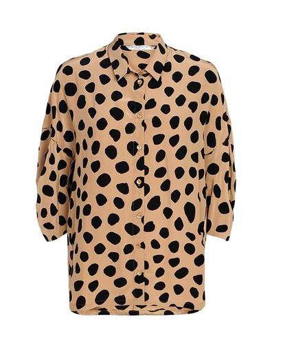Bruin/zwart gestipte dames blouse - Summum Woman - 2S2371-11109