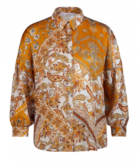 Geprinte dames blouse - Aaiko - Sadé - sudan brown