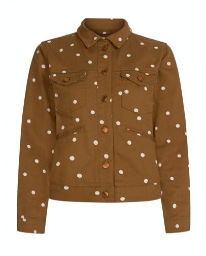 Bruin/wit gestipte dames jack - Fabienne Chapot - Cyprus jacket - toffee brown