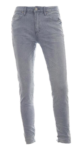Blauw gestreepte dames jeans - Bianco - blue denim strie