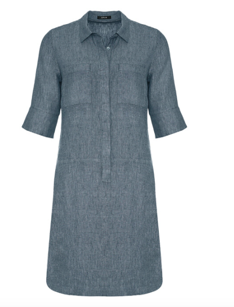 Blauwe dames jurk - Opus - Willmar linen - 6075