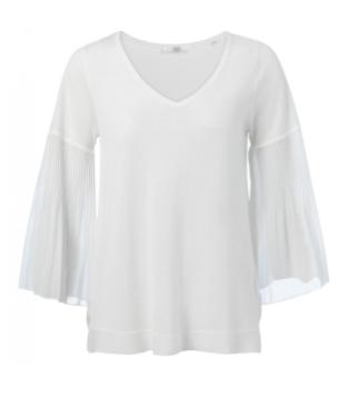 Witte dames top met ruffle mouw YAYA - 1000323-021
