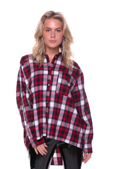 Geruiten dames blouse - Colourful Rebel - 9104 black/red