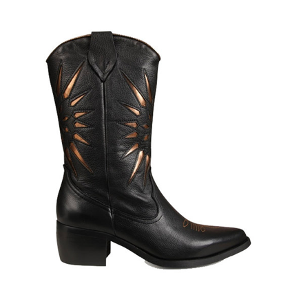 Zwarte dames cowboylaarzen - Monshoe - 8.20.08.042.01 - black
