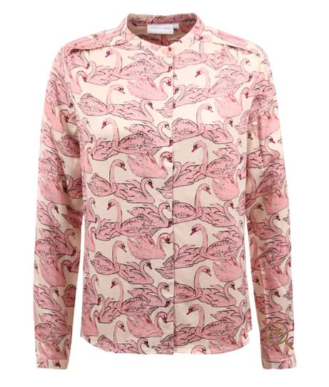 Roze geprinte dames blouse - Fabienne Chapot - sunset blouse - swan w hite/trip