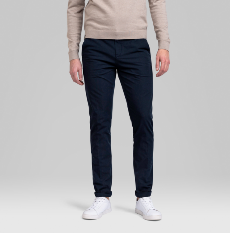 blauwe chino heren broek - vanguard - v12 chino stretch twill 4way - 8023 34