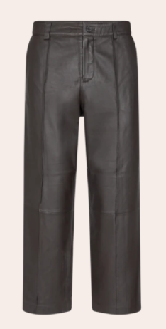 Bruine leren dames broek - Mos Mosh - como leather pant - 134970-695