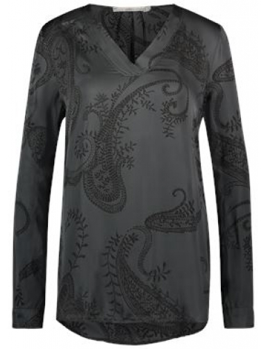 Grijze dames blouse met print en V-hals Aaiko - Paisley - Steel Grey