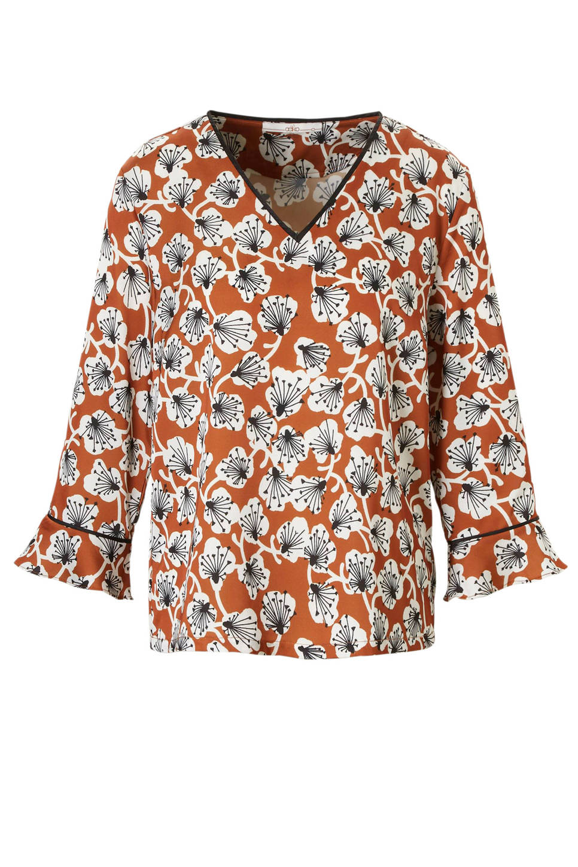 Bruine blouse met bloemenprint Aaiko - Imardi 181142