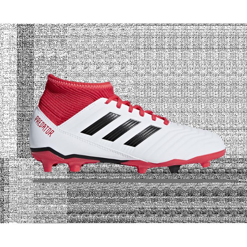Wit rood zwarte voetbalschoen Adidas Predator 18.3 FG J - CP9011
