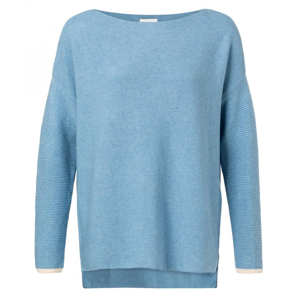 Blauwe boothals dames trui met ribgebreide mouwen YAYA - 100030-911