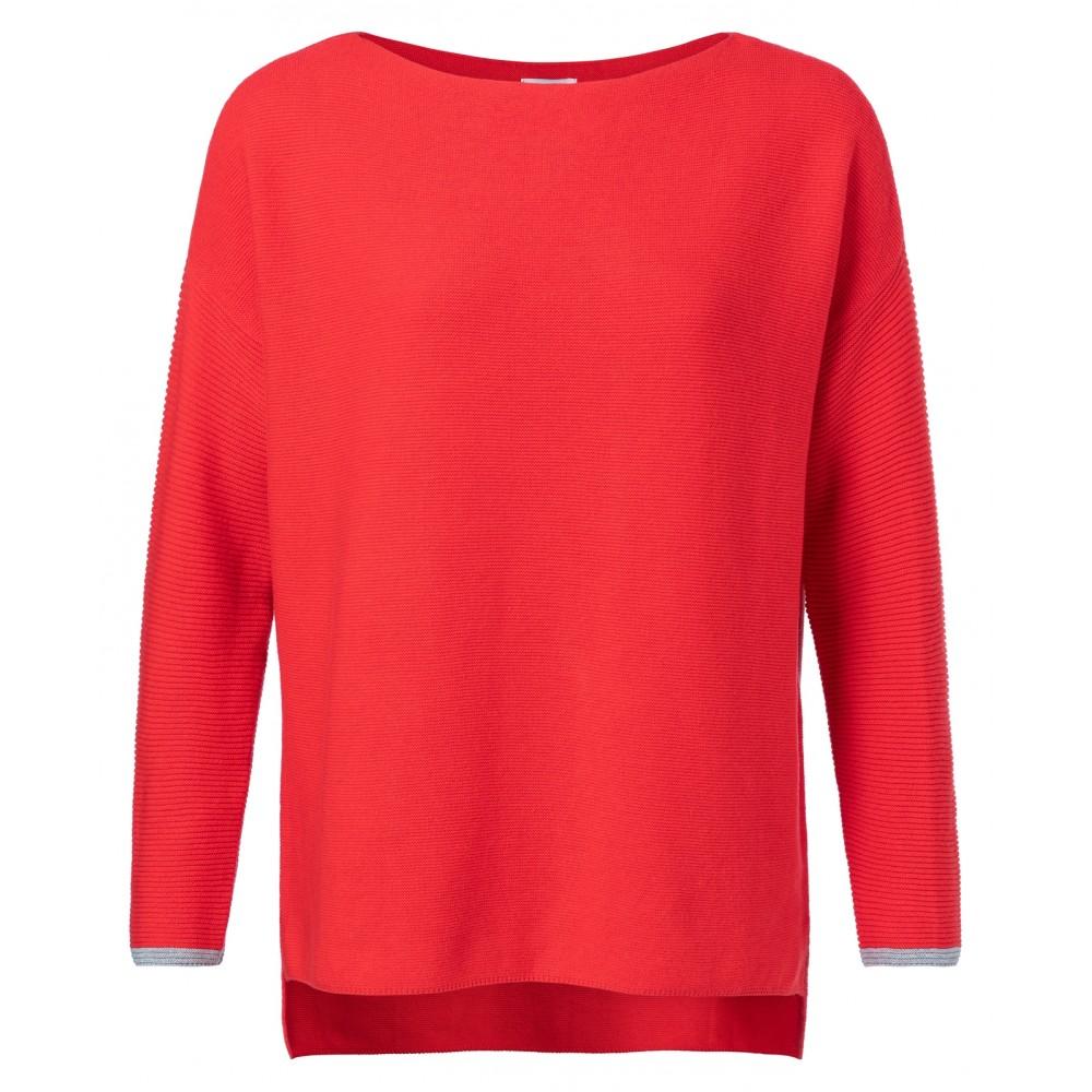 Rode boothals dames trui met ribgebreide mouwen YAYA - 100030-912