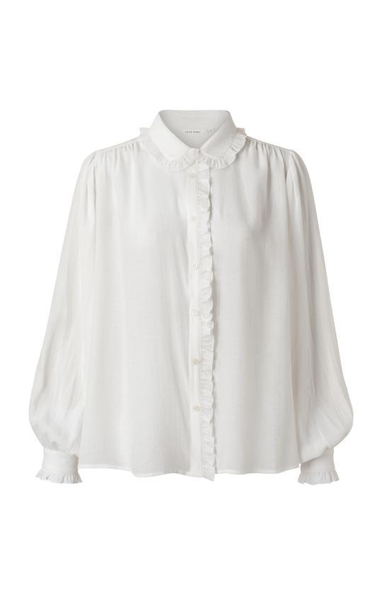 Witte dames blouse - Ya Ya - blouse with ruffled edges - 00000