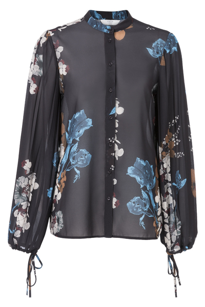 Zwarte damesblouse met bloemenprint YAYA - 110137-824