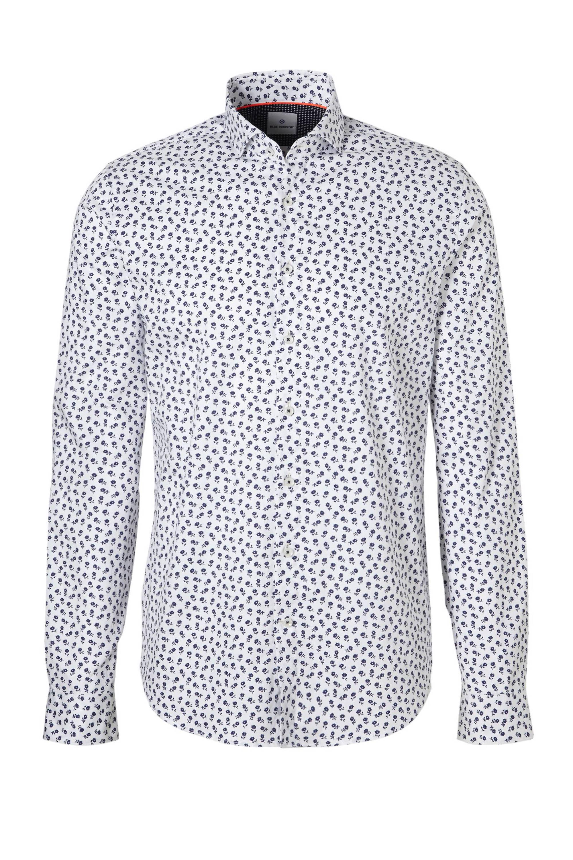 Blauw witte heren blouse met print - 1039.82