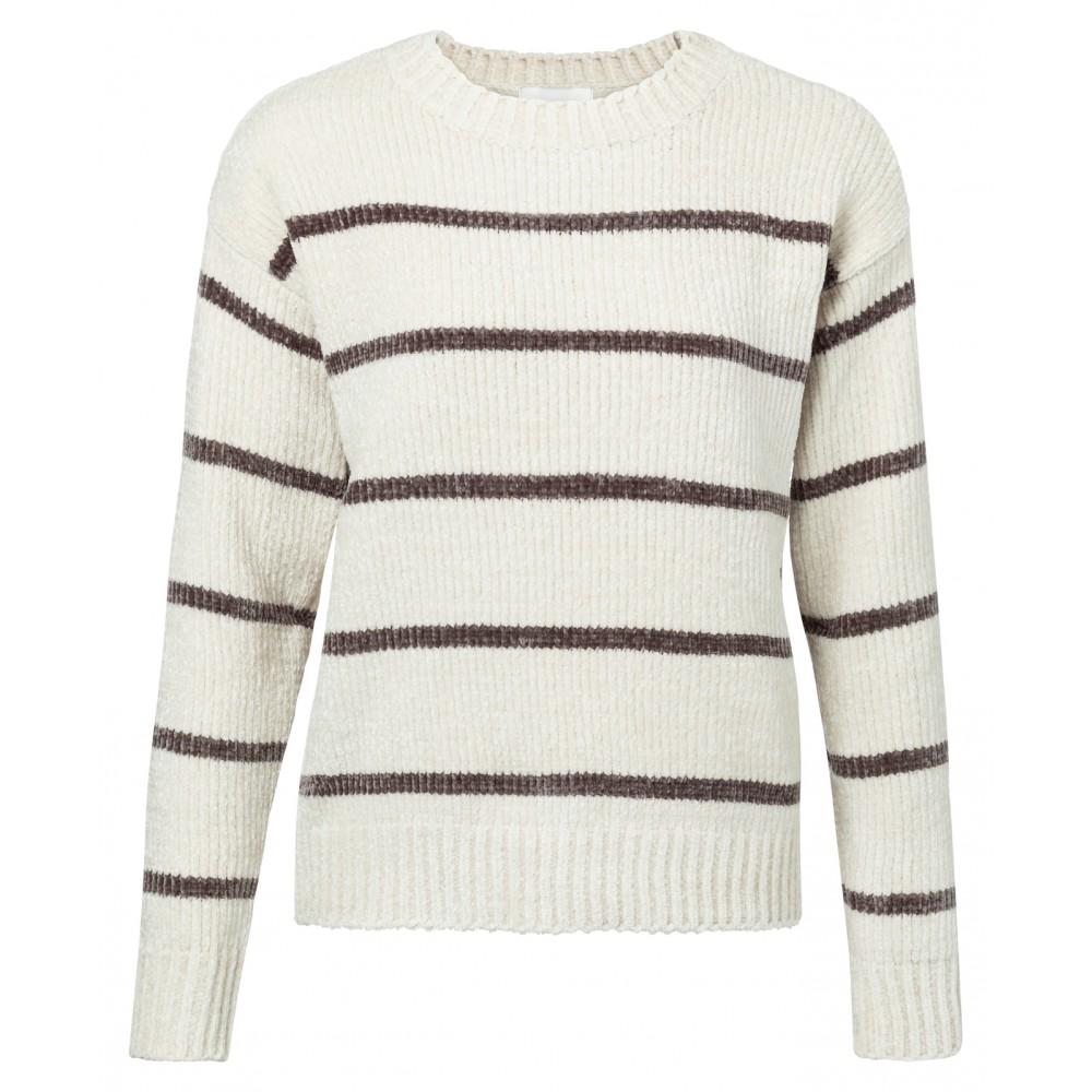 Chenille dames trui met gestreepte print YAYA - 1000178-922, 300021
