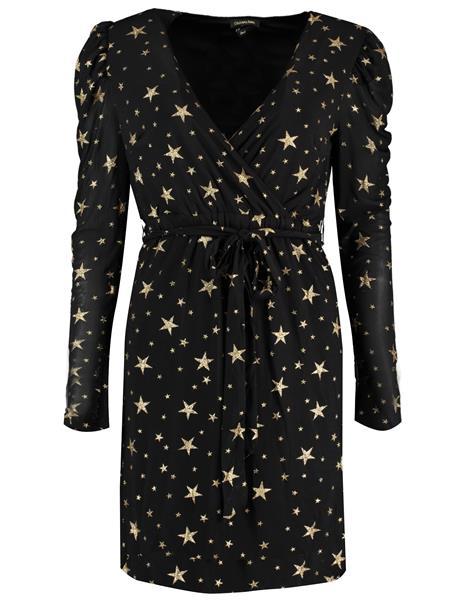 Zwarte dames jurk - Colourful Rebel - Holly stars fake dress - 9267 black/gold