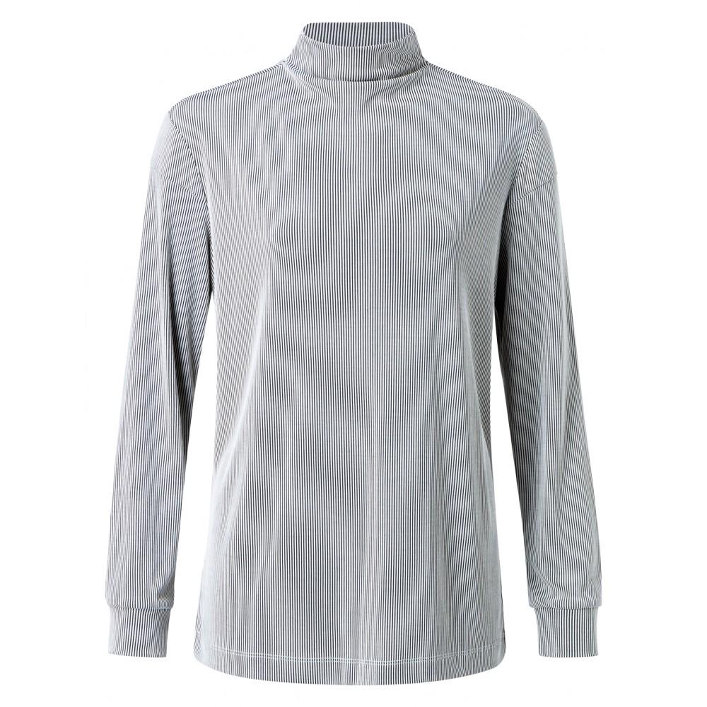 Zwart/wit gestreepte dames top met hoge hals YAYA - 191992-924 - 30401