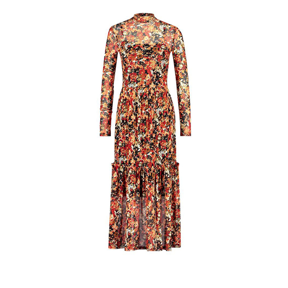 Chili kleurige dames jurk van mesh Aaiko - Mirla