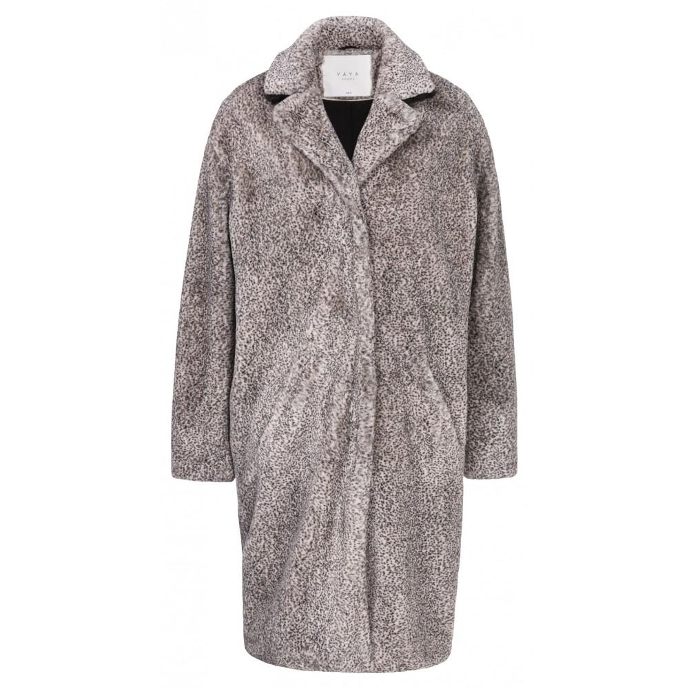 Faux fur zwart witte dames jas YAYA - 161109-824K