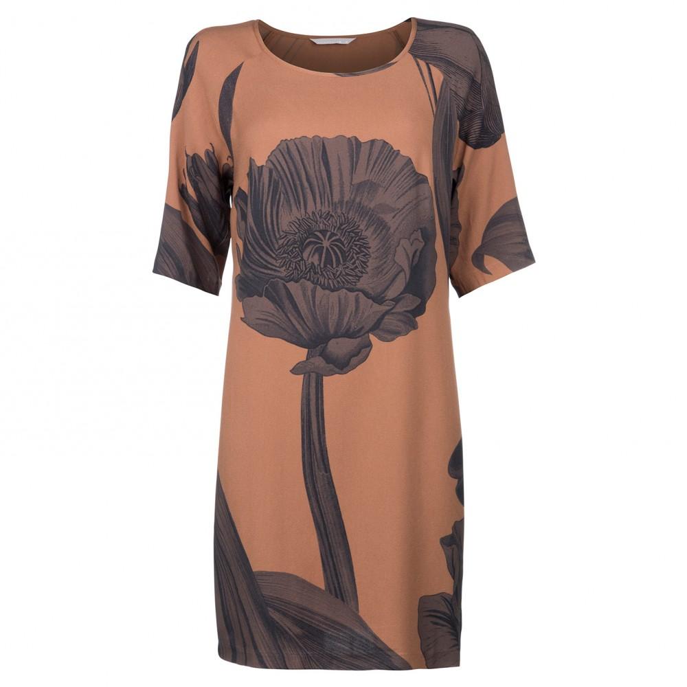Oranje donkerblauw geprinte dames jurk Yaya - 081641