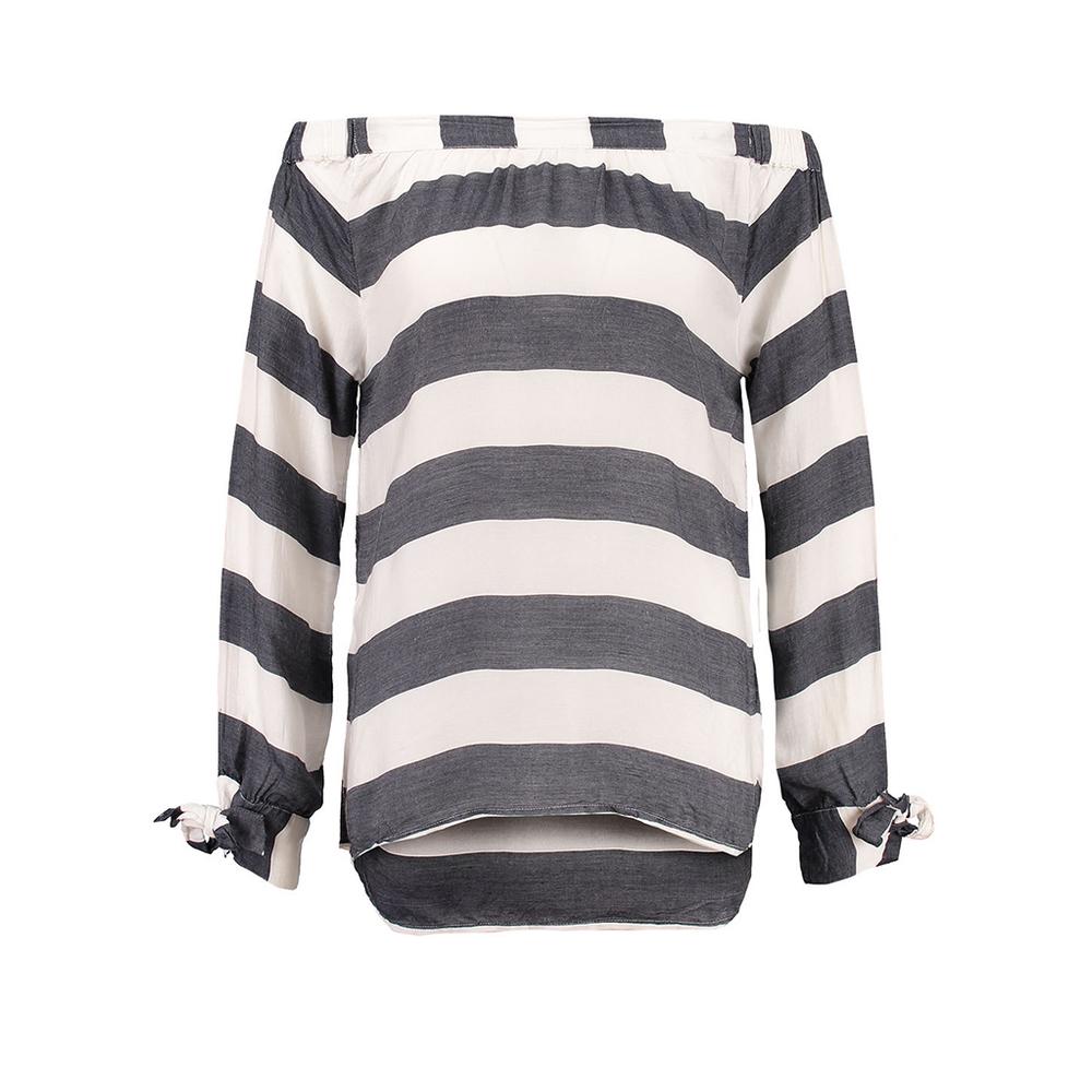 Donkerblauw wit gestreepte dames off-shoulder blouse Garcia - D70231