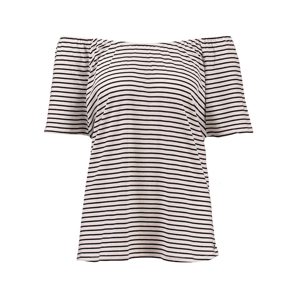 Zwart wit gestreepte off-shoulder dames top Garcia - D70211