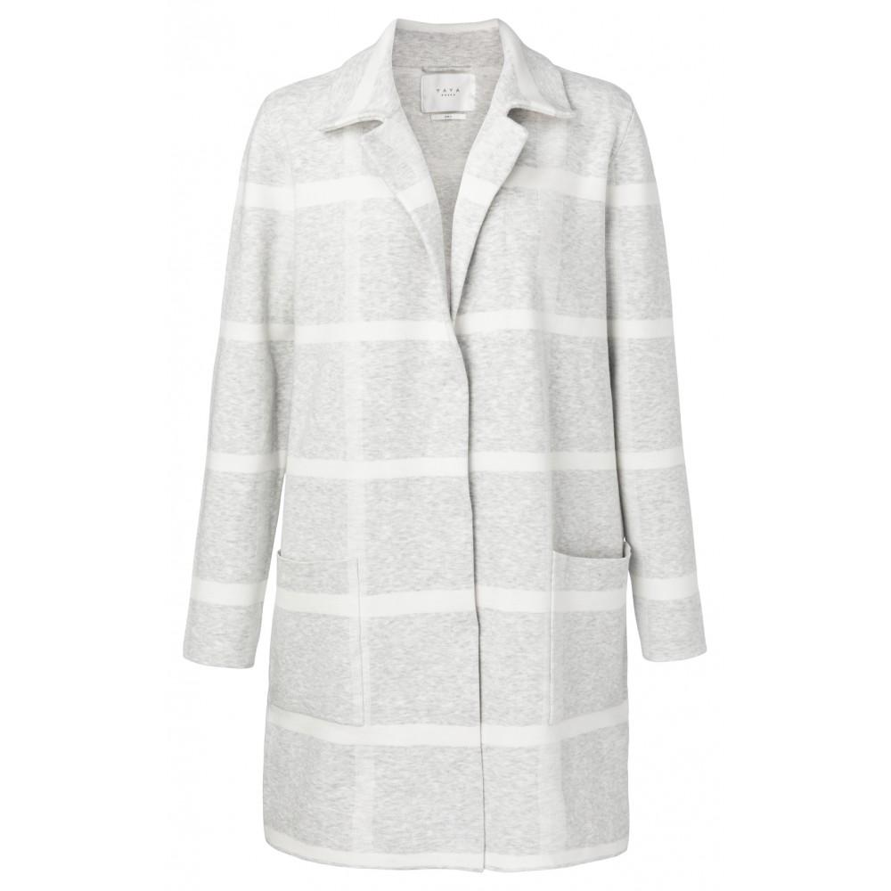 Grijs gebreid dames vest met ruiten YAYA - 150024-912