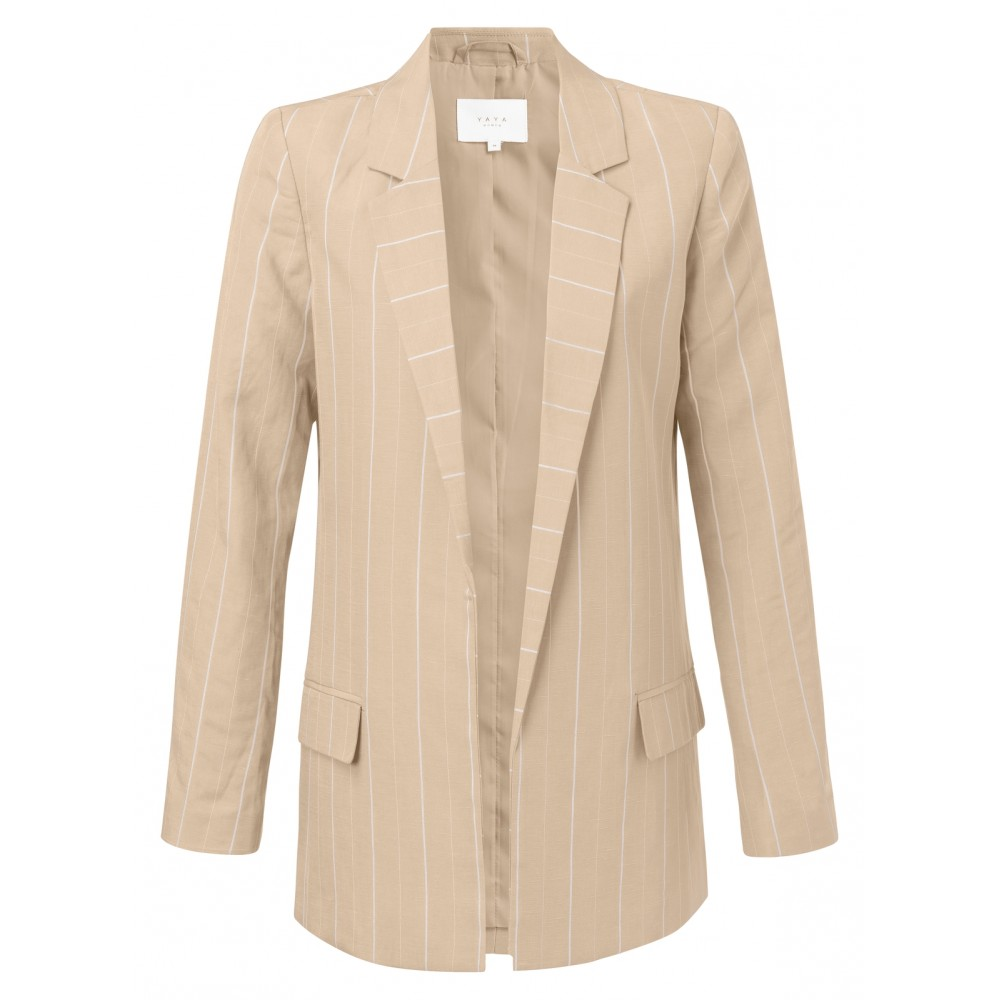 Beige dames blazer met streep YAYA - 150128-914