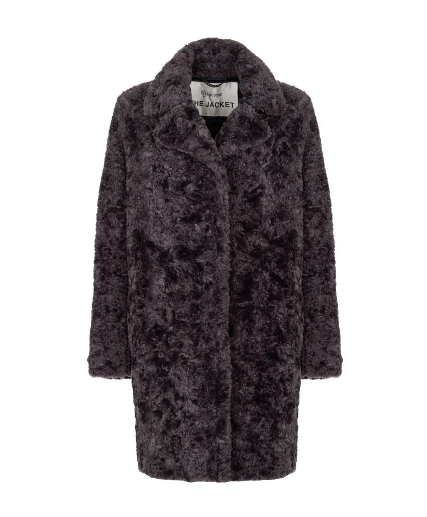 Blauw/grijze fake fur dames jas Giacomo - 6612858