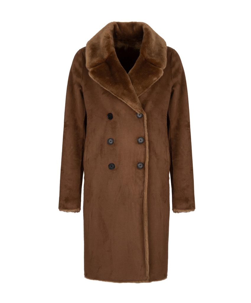 Bruine lange dames jas, aan twee kanten draagbaar Giacomo - 6630800