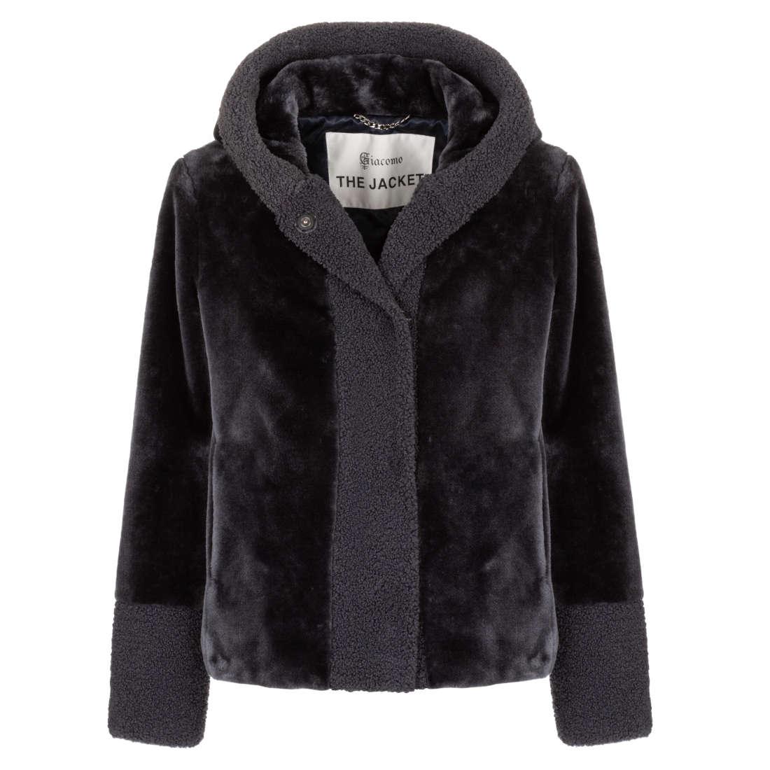 Blauw/grijze korte dames jas met capuchon Giacomo - 6513854