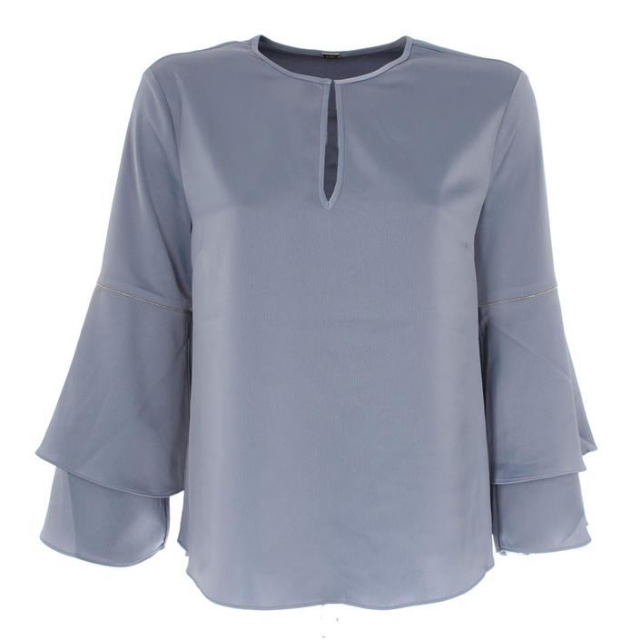 Lichtblauwe dames blouse met volant mouw Gustav - 11077-26644